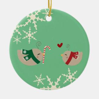 Christmas Love Birds Ceramic Ornament