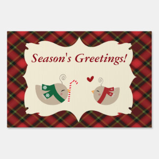 Christmas Love Birds Lawn Sign