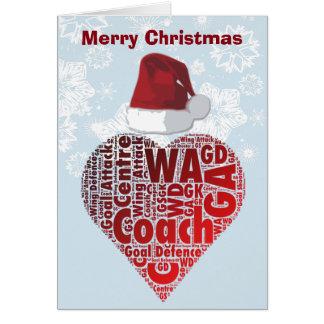 Christmas Love Heart Netball Coach Card