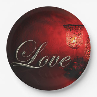 Christmas Love Holiday Candlelight Glow Paper Plate