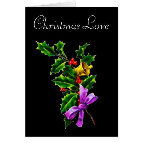 Christmas Love Holly Branch Christmas Card