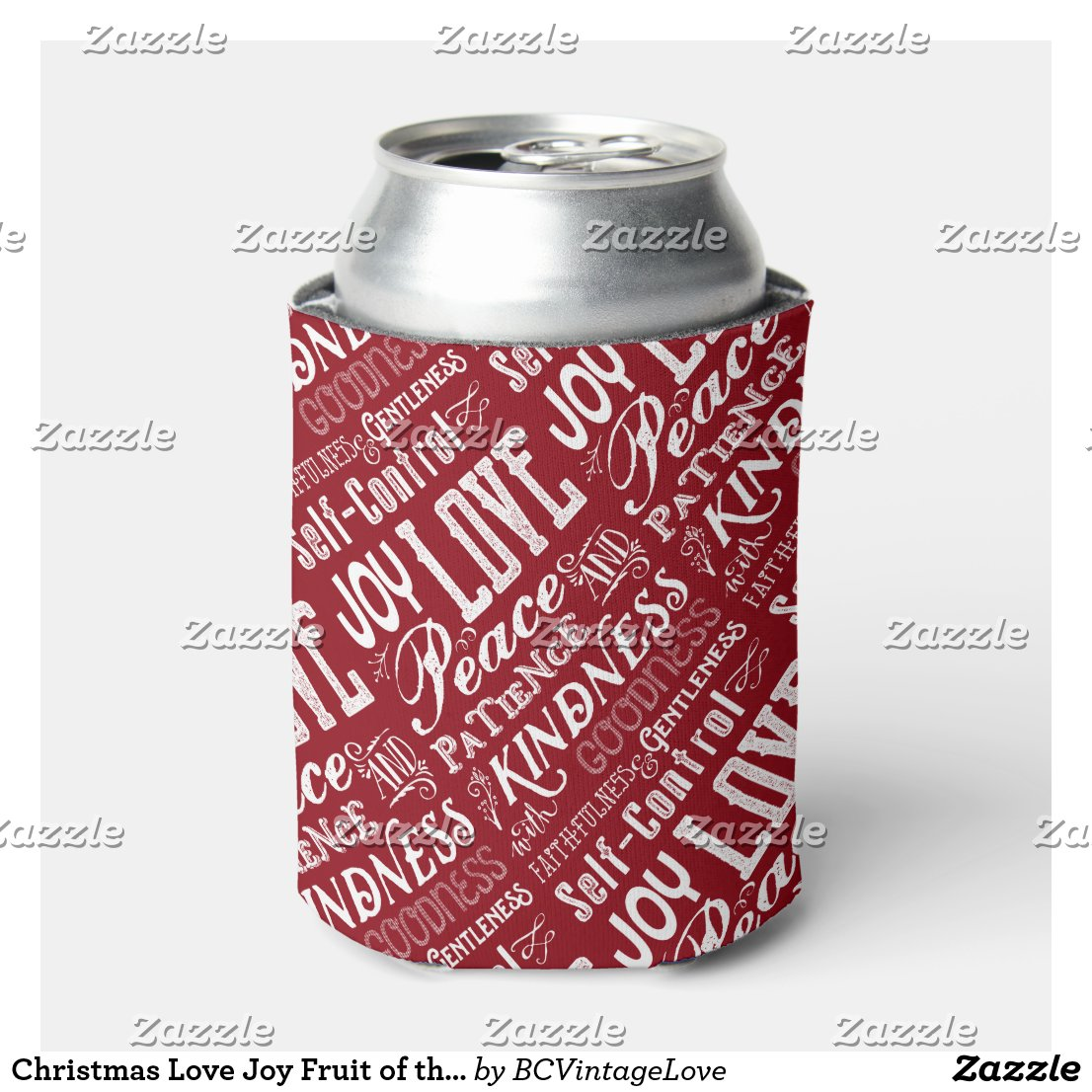 Christmas Love Joy Fruit of the Spirit Typography Can Cooler