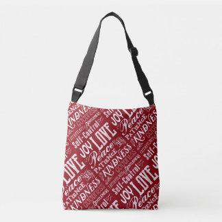 Christmas Love Joy Fruit of the Spirit Typography Crossbody Bag