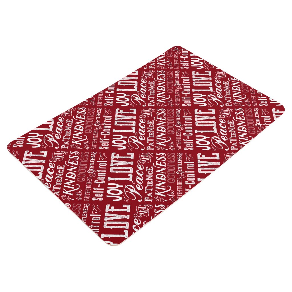 Christmas Love Joy Fruit of the Spirit Typography Floor Mat
