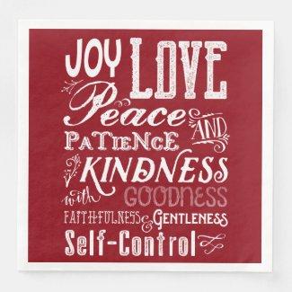 Christmas Love Joy Fruit of the Spirit Typography Paper Dinner Napkin