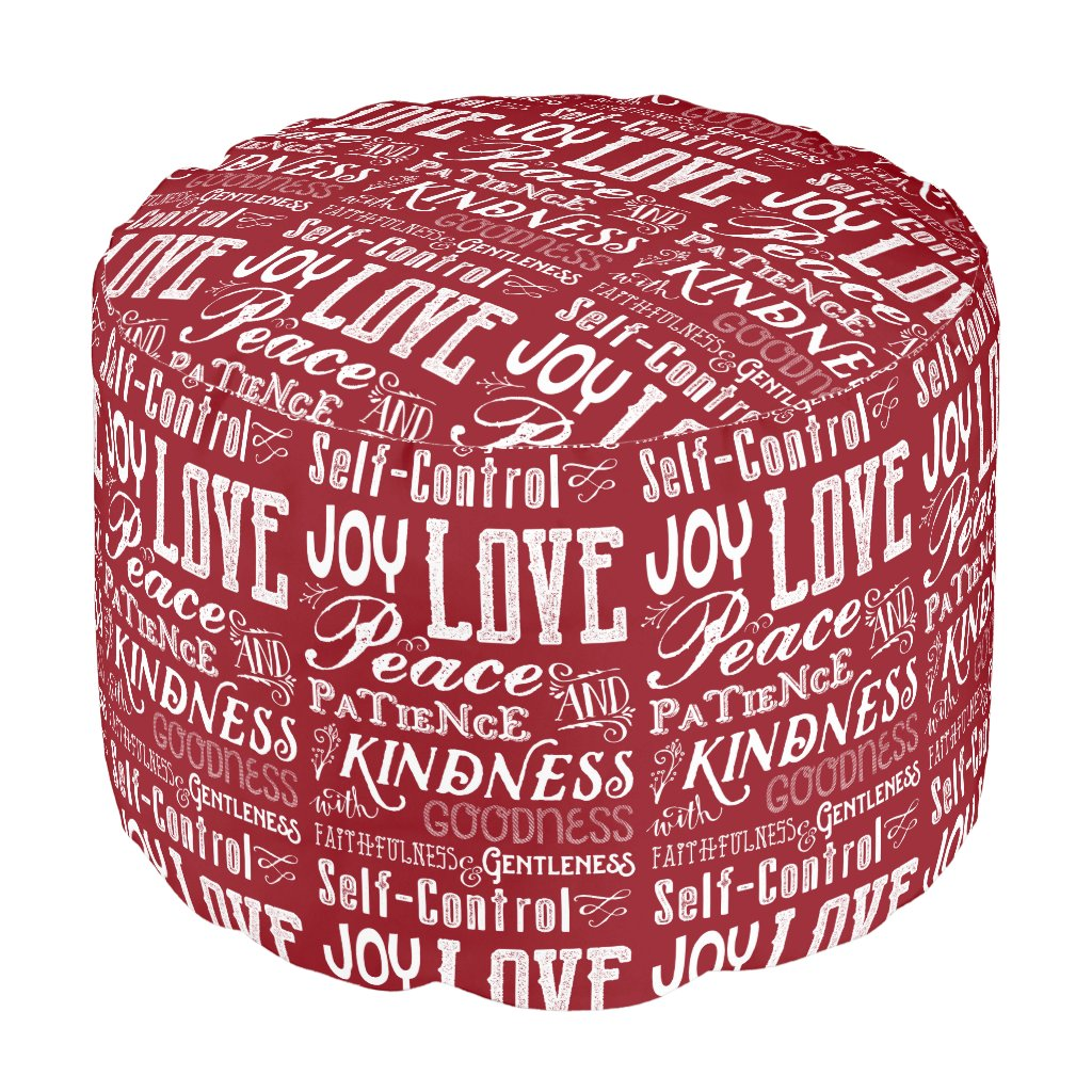 Christmas Love Joy Fruit of the Spirit Typography Pouf