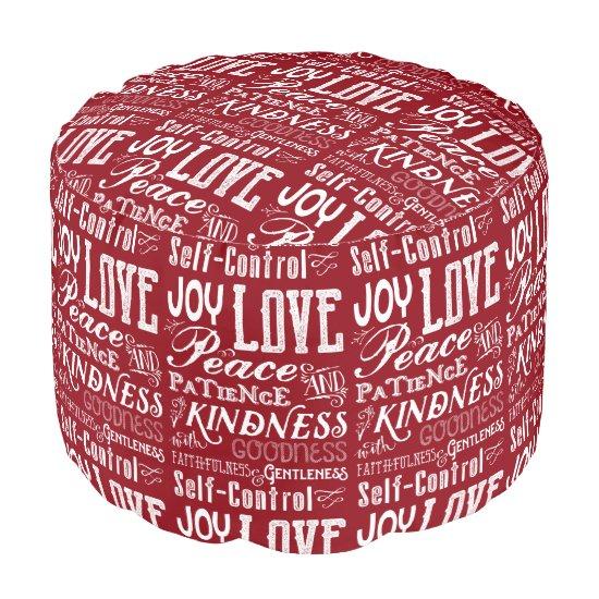 Christmas Love Joy Fruit of the Spirit Typography Pouf