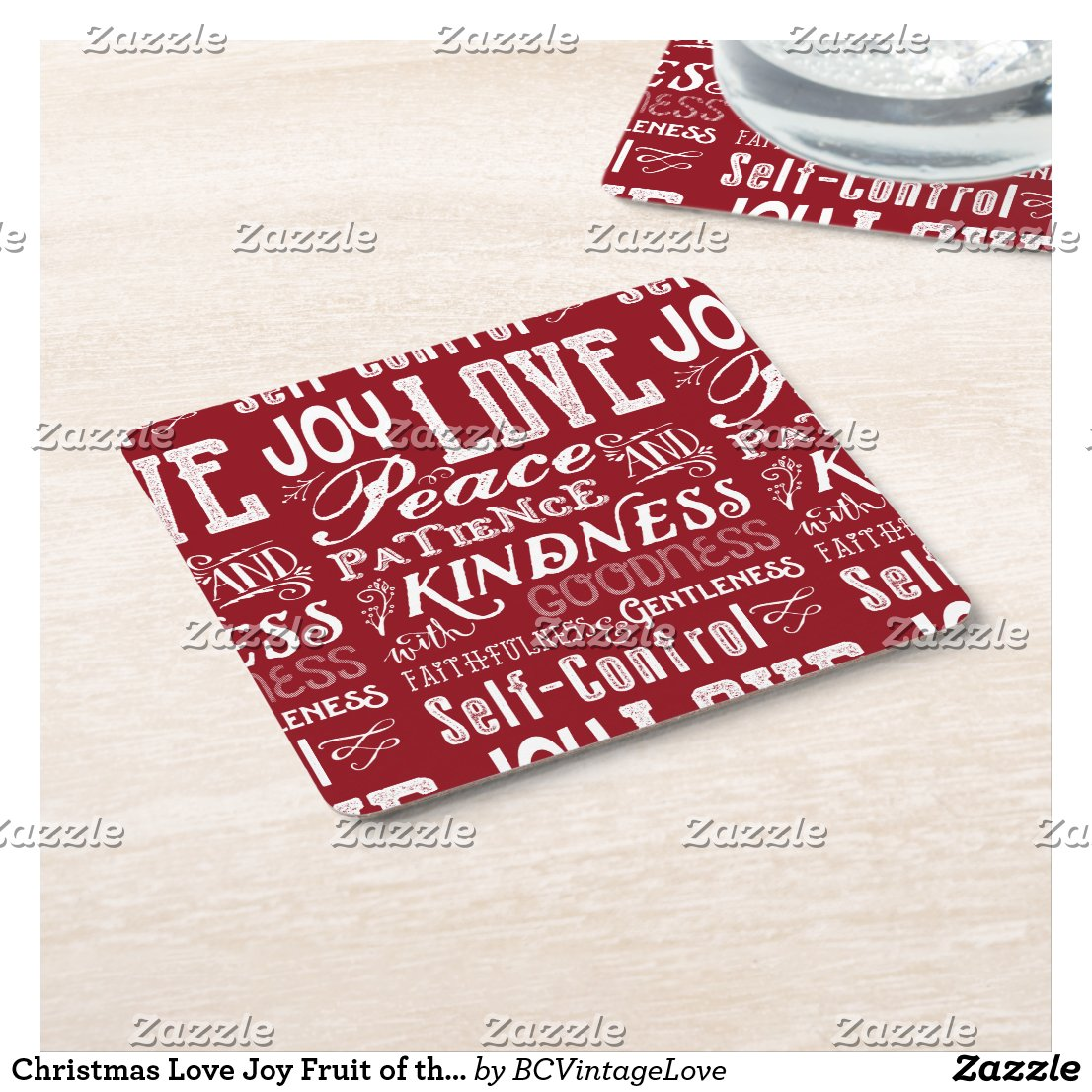 Christmas Love Joy Fruit of the Spirit Typography Square Paper Coaster