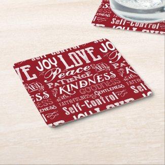 Christmas Love Joy Fruit of the Spirit Typography Square Paper Coaster
