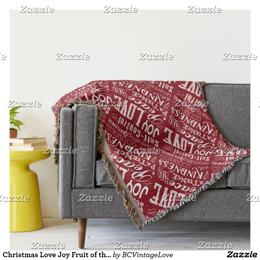 Christmas Love Joy Fruit of the Spirit Typography Throw