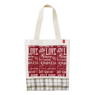 Christmas Love Joy Fruit of the Spirit Typography Zazzle HEART Tote Bag