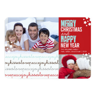 Christmas Love Peace Joy Kisses Holiday Photo Card