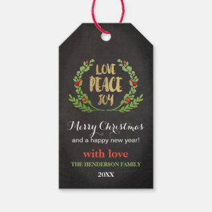 CHRISTMAS LOVE PEACE JOY WREATH GIFT TAG