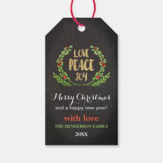 CHRISTMAS LOVE PEACE JOY WREATH GIFT TAG