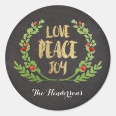 Christmas Love Peace Joy Wreath Stickers at Zazzle