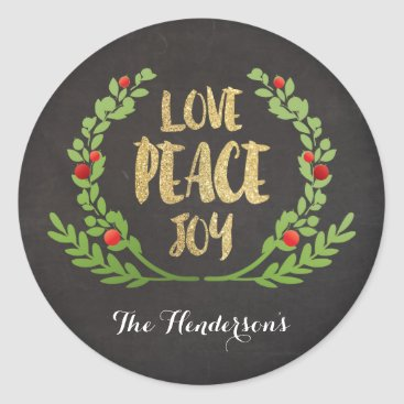 Christmas Themed CHRISTMAS LOVE PEACE JOY WREATH STICKERS