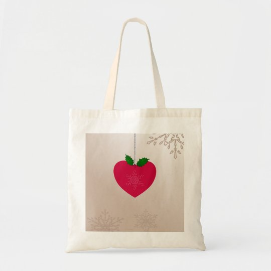 Christmas Love, romantic heart and snowflakes Tote Bag