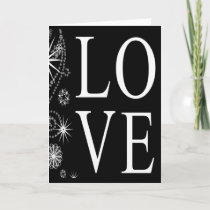 Christmas Love Snowflakes Black White Holidays Holiday Card