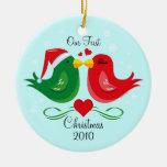 Christmas Lovebirds 1st Christmas Ornament