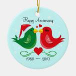 Christmas Lovebirds Anniversary Ornament