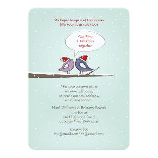 Christmas Lovebirds Holiday Card/New Address 5x7 Paper Invitation Card