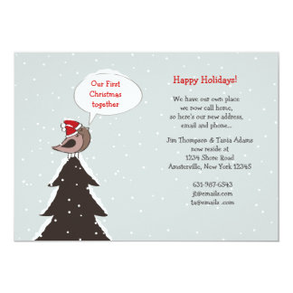 """Christmas Lovebirds Holiday Moving Announcement 5"""" X 7"""" Invitation Card"""