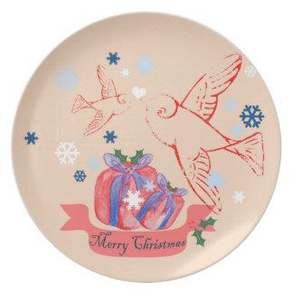 Christmas Lovebirds Melamine Plate