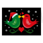 Christmas Lovebirds Personalized Card