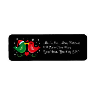 Christmas Lovebirds Personalized Label
