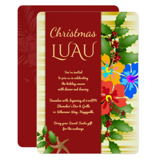 Christmas Luau Hibiscus Holly Party Invitation