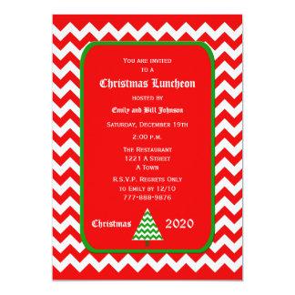 Christmas Luncheon Invitation Red Chevron