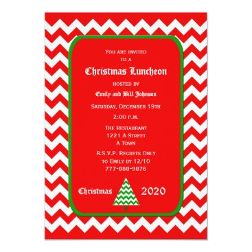 Christmas Themed Christmas Luncheon Invitation Red Chevron