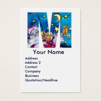 CHRISTMAS M LETTER / INSPIRED SANTA MONOGRAM BUSINESS CARD
