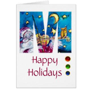 CHRISTMAS M LETTER INSPIRED SANTA MONOGRAM GREETING CARD