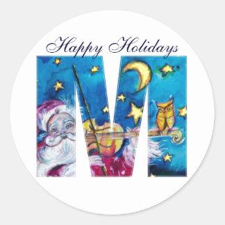 CHRISTMAS M LETTER / INSPIRED SANTA MONOGRAM CLASSIC ROUND STICKER