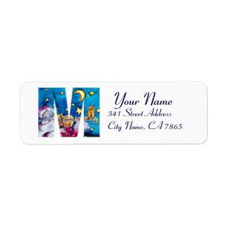 CHRISTMAS M LETTER / INSPIRED SANTA MONOGRAM RETURN ADDRESS LABEL