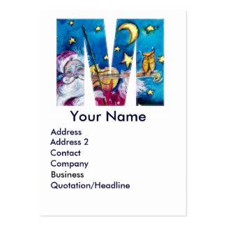 CHRISTMAS M LETTER / INSPIRED SANTA MONOGRAM LARGE BUSINESS CARD