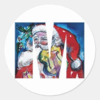 CHRISTMAS M LETTER  / SANTA WITH VIOLIN MONOGRAM CLASSIC ROUND STICKER