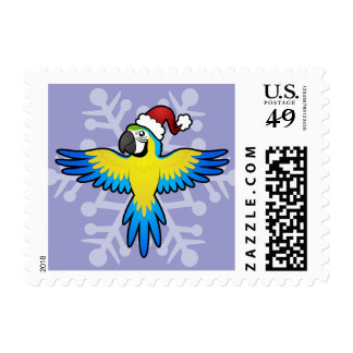 Christmas Macaw / Parrot Stamp