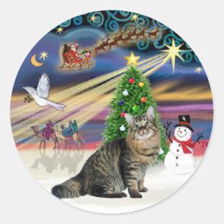 Christmas Magic-American Bobtail Cat Classic Round Sticker