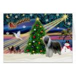 Christmas Magic Bearded Collie (slate) Card