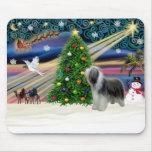Christmas Magic Bearded Collie (slate) Mouse Mat