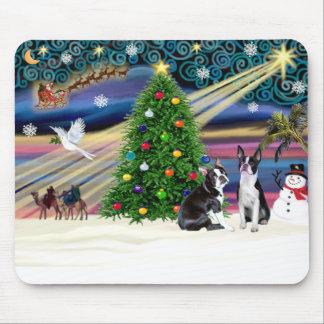 Christmas  Magic-Boston Terrier (2) Mouse Pad