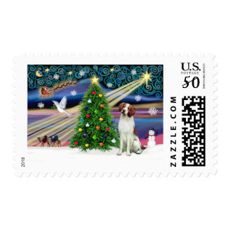 Christmas Magic Brittany Spaniel Postage