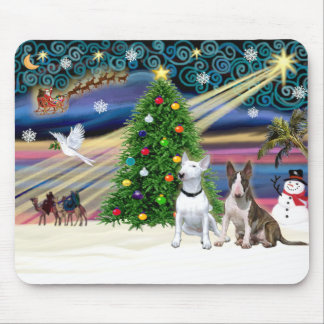 Christmas Magic Bull Terriers (two) Mouse Pad