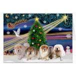 Christmas Magic Chow Chows (four) Greeting Card