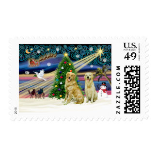 Christmas Magic Golden Retrievers (two) Postage Stamp
