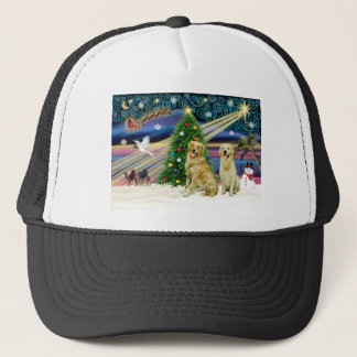 Christmas Magic Golden Retrievers (two) Trucker Hat