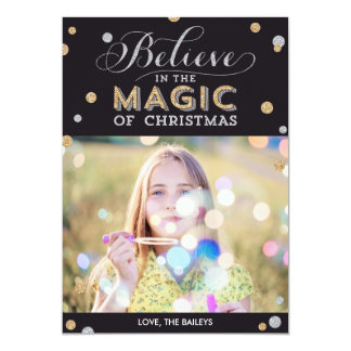 Christmas Magic Holiday Photo Cards - Black