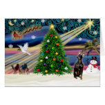 Christmas Magic Miniature Pinscher (cropped ears) Greeting Card